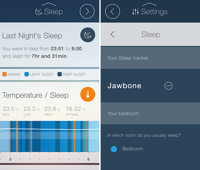 CubeSensors app with Jawbone sleep data charts and settings
